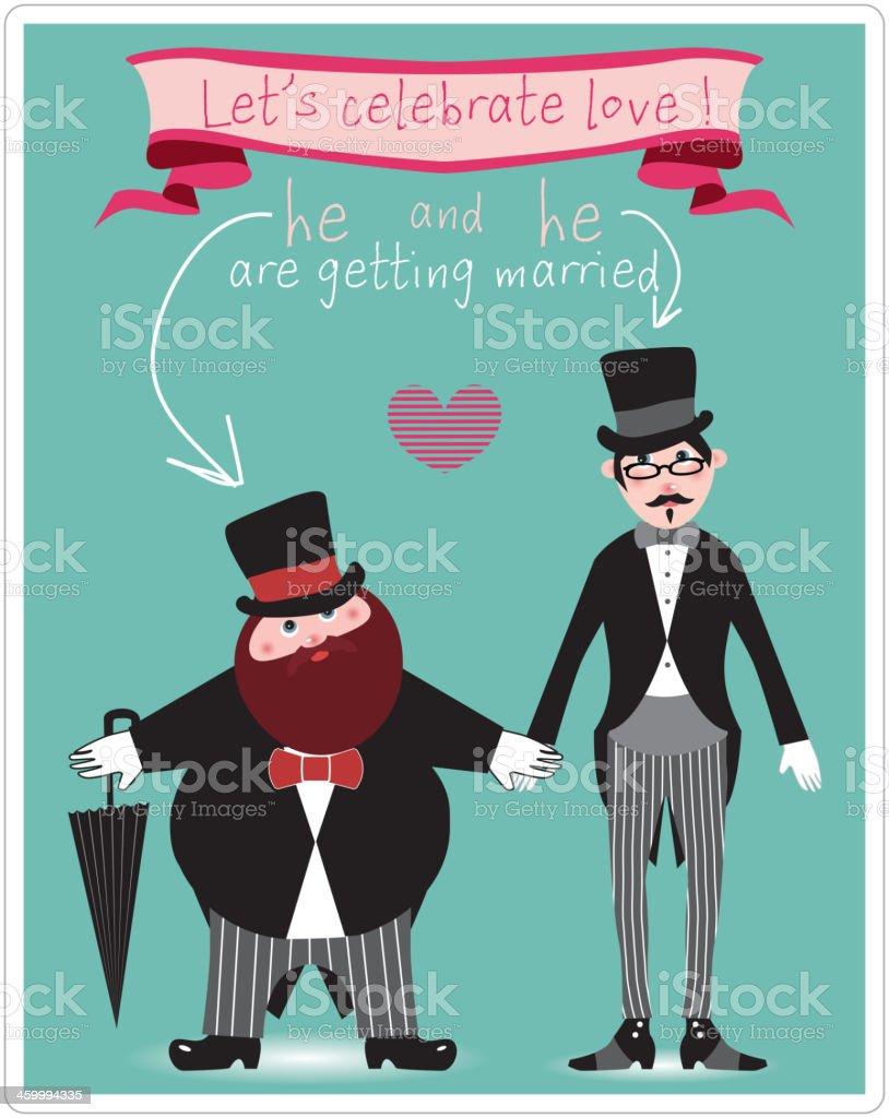 Schön Hochzeit Einladung Karte Mit Gay Paar Lizenzfreies Hochzeit Einladung Karte  Mit Gay Paar Stock Vektor Art
