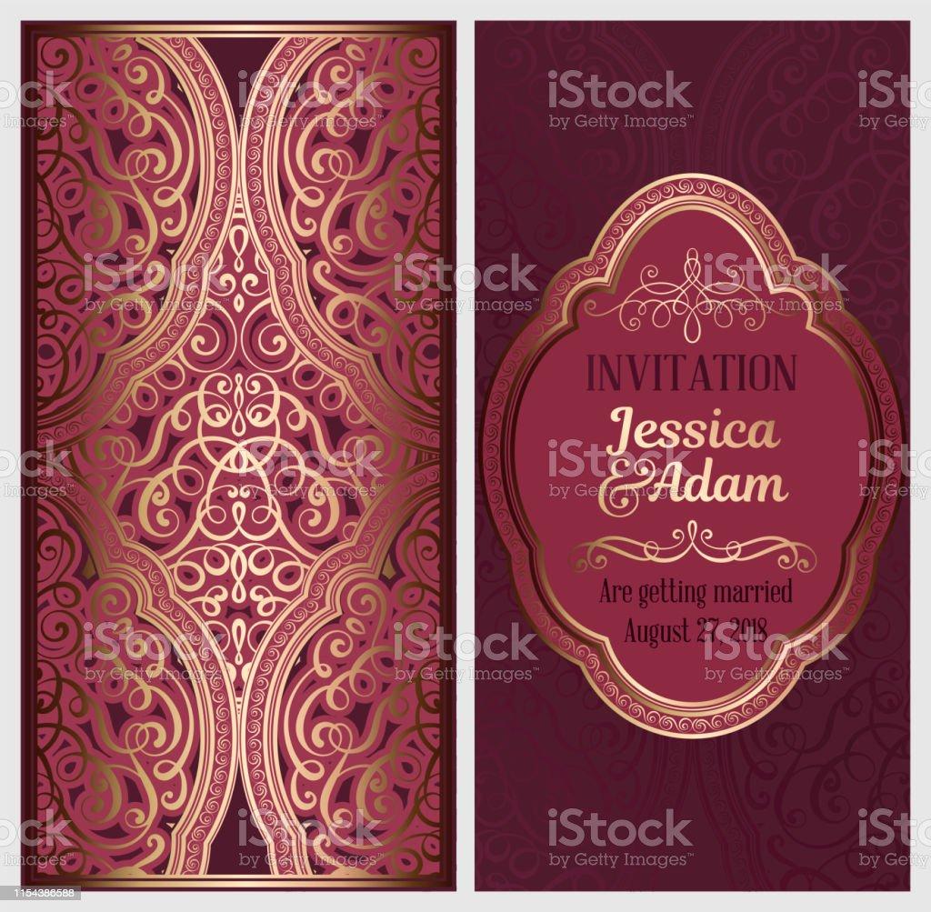 Carte Dinvitation De Mariage Avec Or Brillant Oriental Et