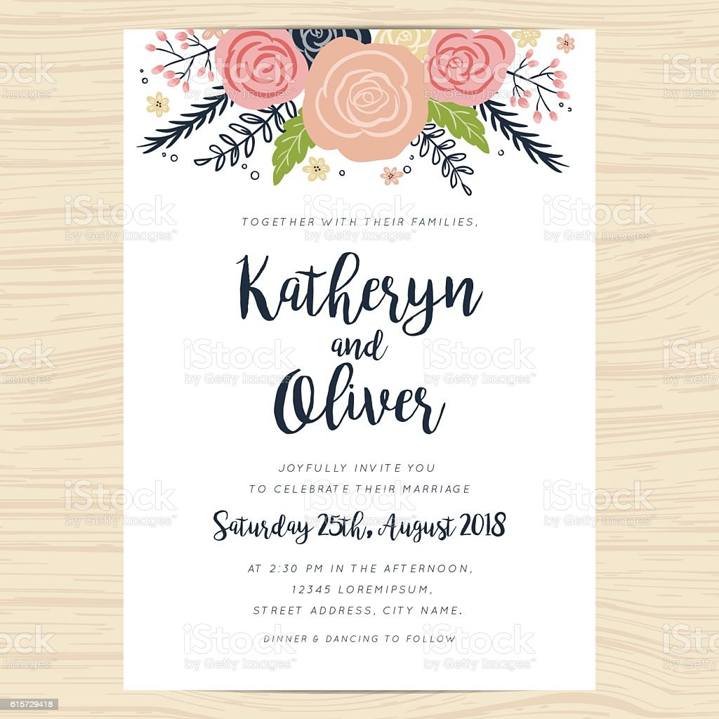 wedding invitation card with hand drawn wreath flower template