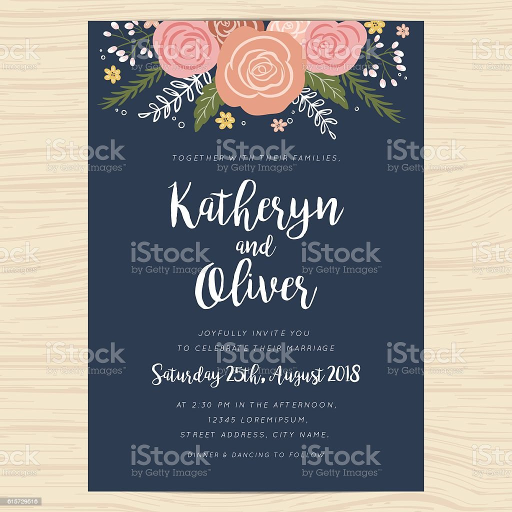 Wedding invitation card with hand drawn wreath flower template. vector art illustration