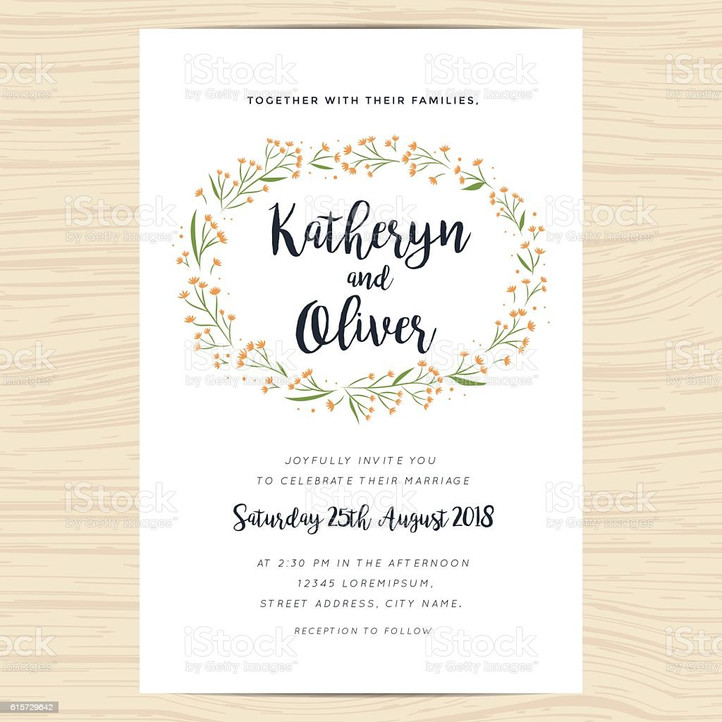 Wedding Invitation Card With Hand Drawn Wreath Flower Template Stock ...