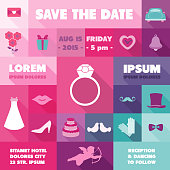 Wedding Invitation Card - with Wedding Icons - Save the Date - in vector