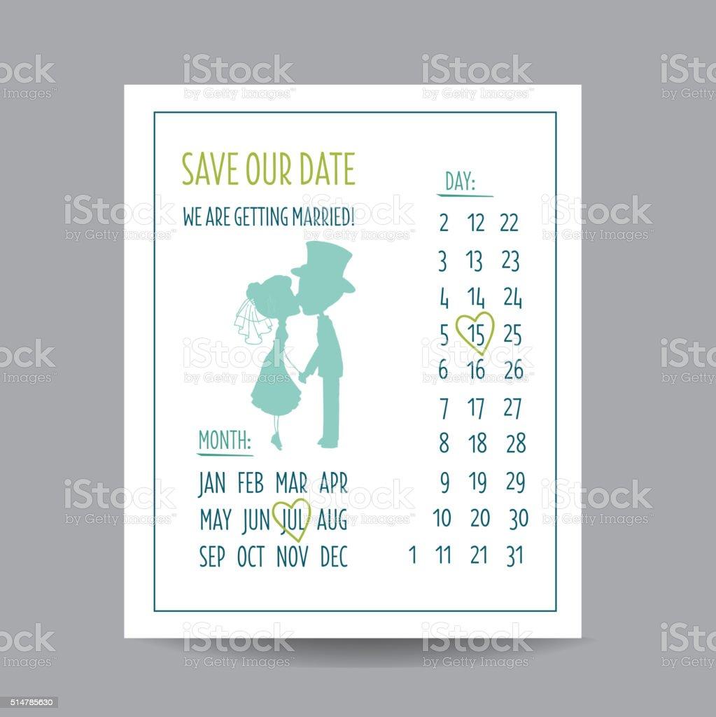 Hochzeit Einladung Karte Mit Paar Küssen Und Kalender Lizenzfreies Hochzeit  Einladung Karte Mit Paar Küssen Und