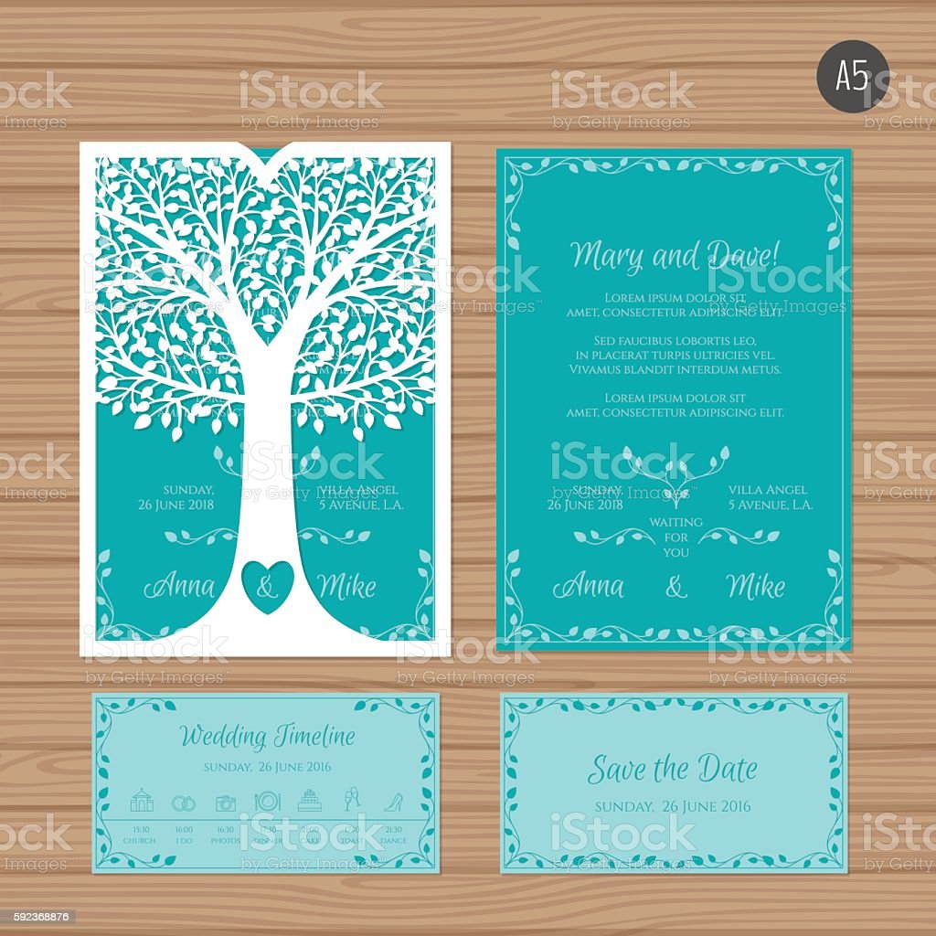 Wedding invitation card with laser cut envelope stock vector art wedding invitation card with laser cut envelope royalty free wedding invitation card with laser stopboris Choice Image