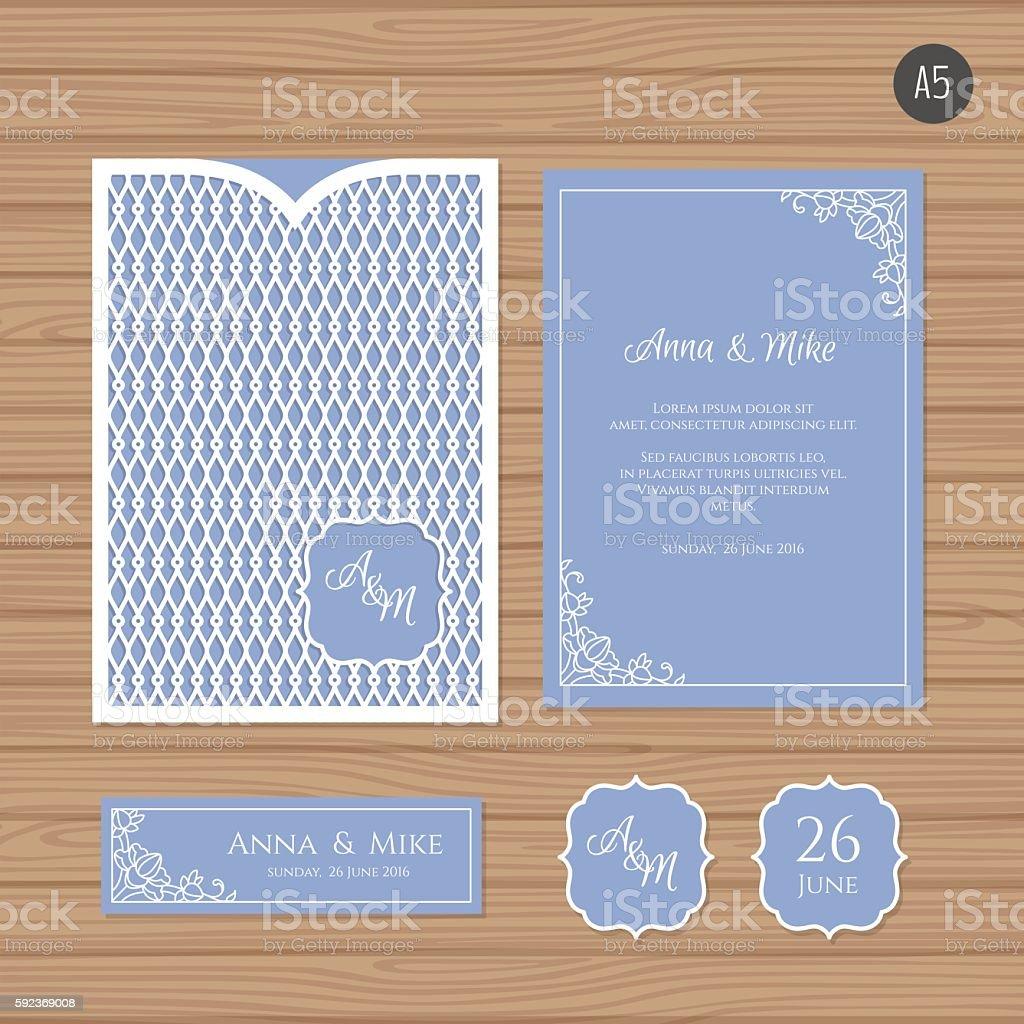 Wedding invitation card with laser cut envelope stock vector art wedding invitation card with laser cut envelope royalty free wedding invitation card with laser stopboris Choice Image