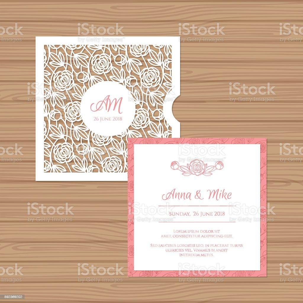 Wedding Invitation Card With Laser Cut Envelope Stock Vector Art ...