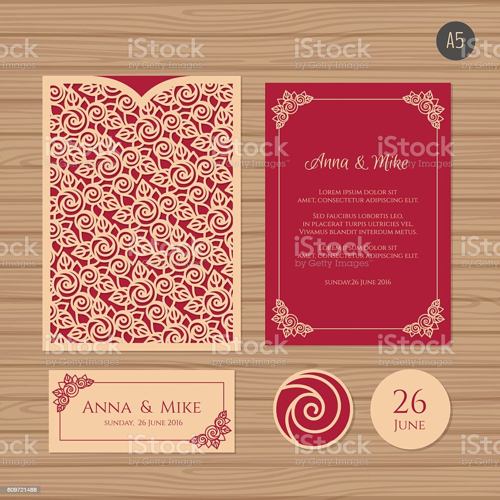 Wedding Invitation Card With Laser Cut Envelope Stock Vector Art ...