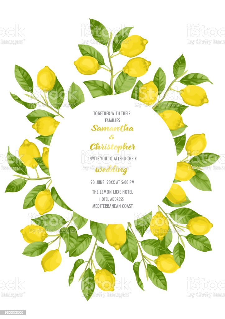 Wedding Invitation Card With Lemon Brunches Stock Vector Art More