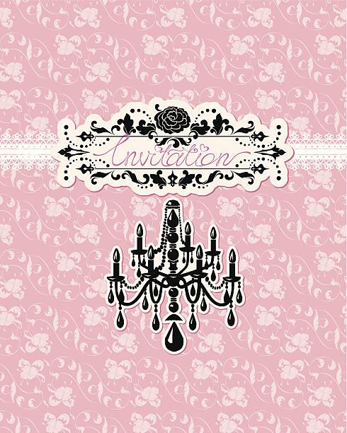 ilustrações de stock, clip art, desenhos animados e ícones de convite de casamento cartão de luxo candelabro em fundo floral rosa - lian empty