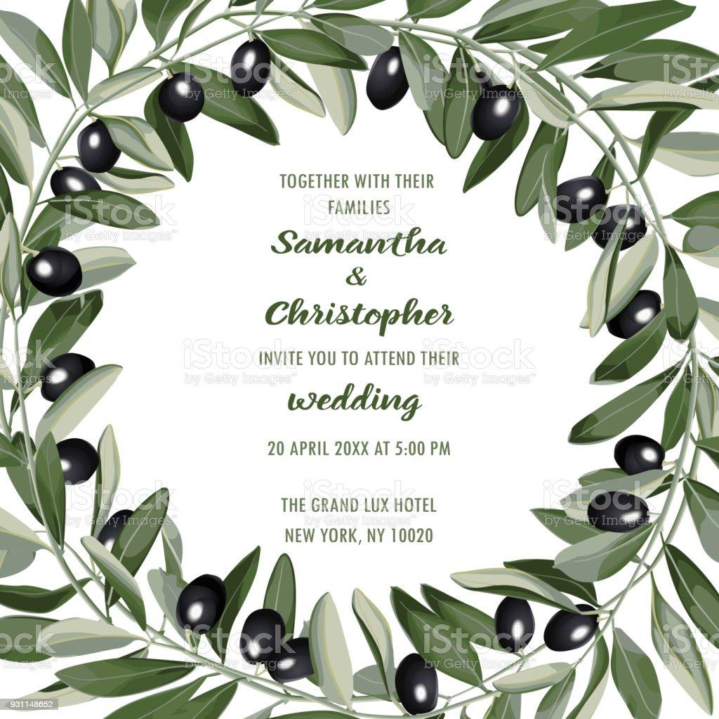 Hochzeit einladungskarte mit olive brunch lizenzfreies hochzeit einladungskarte mit olivebrunch stock vektor art und mehr