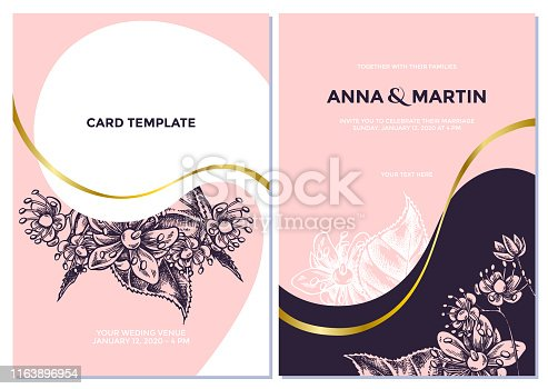 Wedding invitation card with pink tilia cordata stock illustration