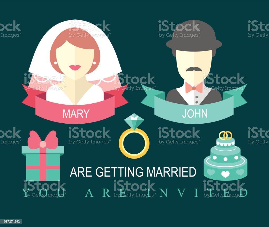Hochzeit Einladungskarte Mit Band Ring Kuchen Geschenk Braut Und