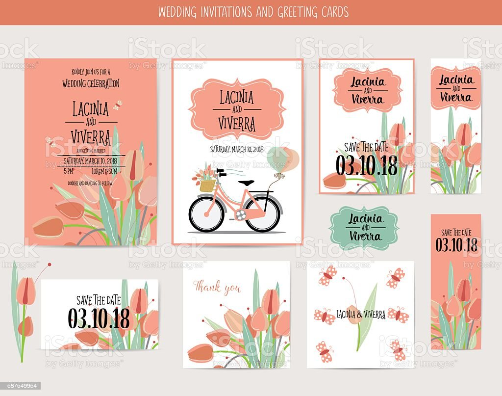 wedding invitation card with romantic flower templates お祝いの