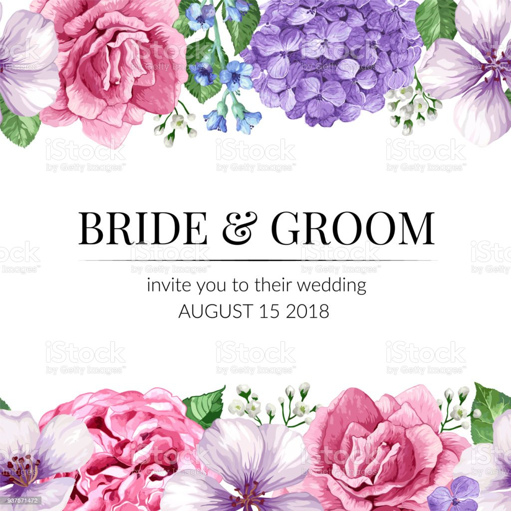 Wedding Invitation Card With Seamless Flower Border In Watercolor ...