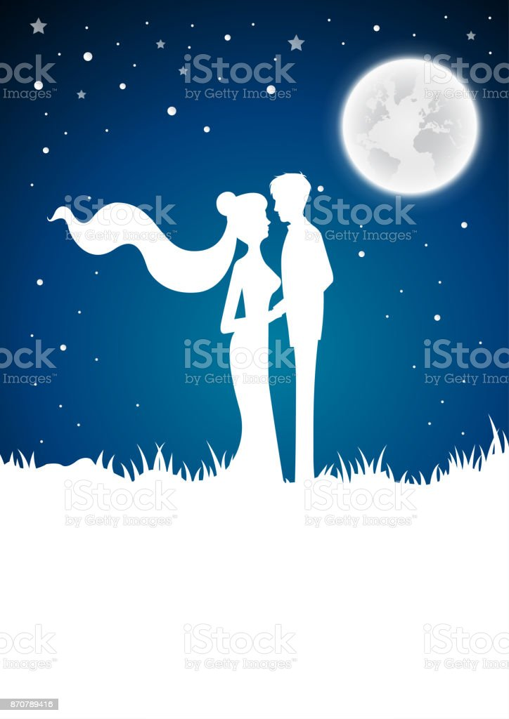 Wedding Invitation Card With Silhouette And Winterfull Moon