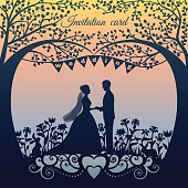 Wedding Day invitation with sweet couple, bride and groom
