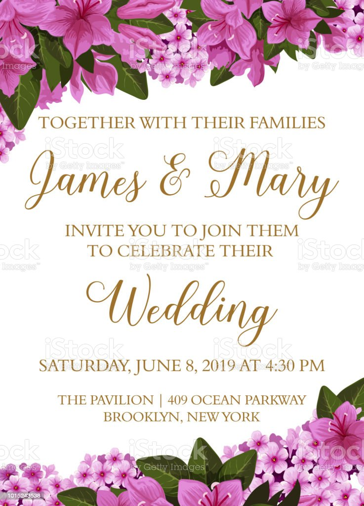 Wedding Invitation Card With Spring Flower Border Stock Vector Art