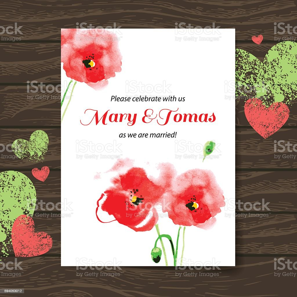 Wedding Invitation Card With Watercolor Poppy Stock Vector Art ...