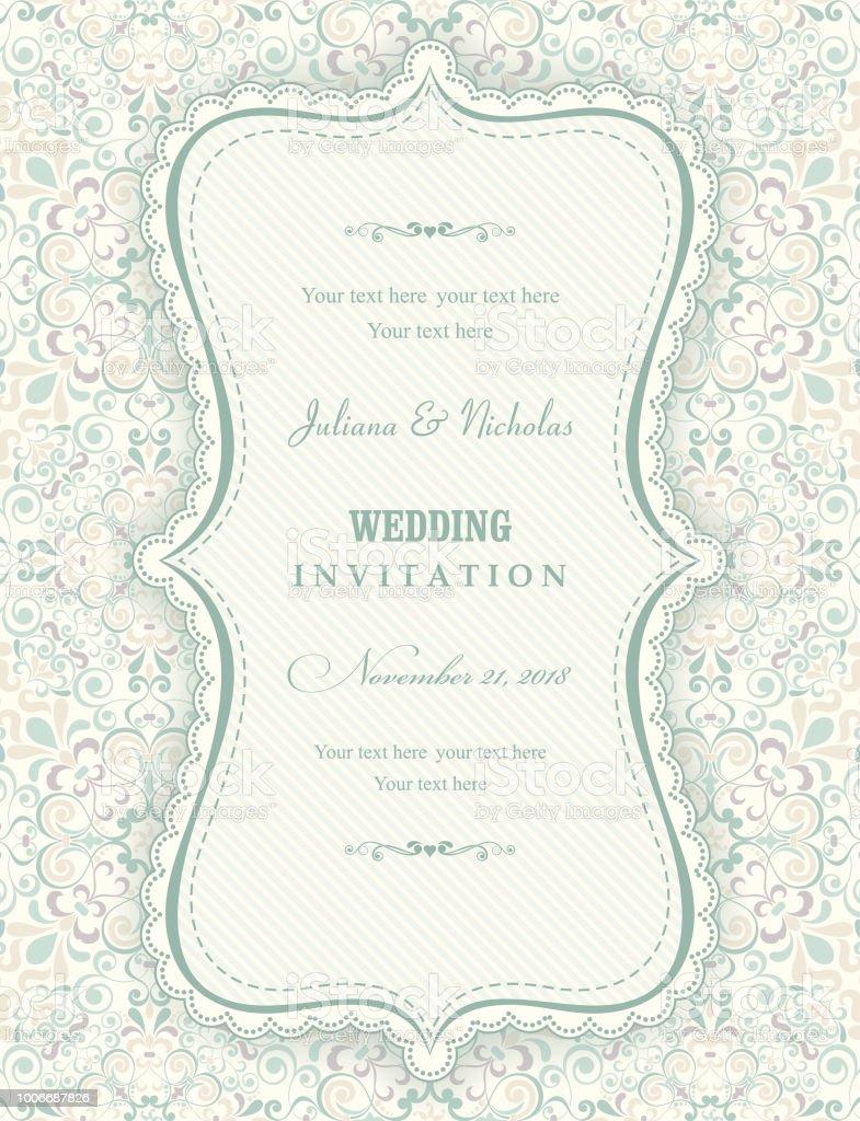 wedding invitation cards baroque style vintage pattern retro
