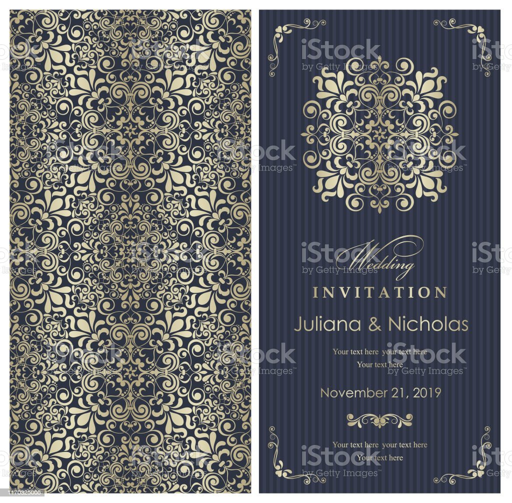 Wedding Invitation Cards Baroque Style Vintage Pattern Retro Victorian Ornament Frame With Flowers Elements Stock Illustration Download Image Now Istock