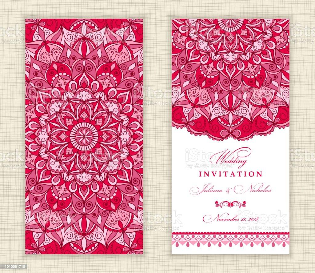 Wedding invitation cards eastern style arabic pattern mandala wedding invitation cards eastern style arabic pattern mandala ornament frame with flowers elements stopboris Images