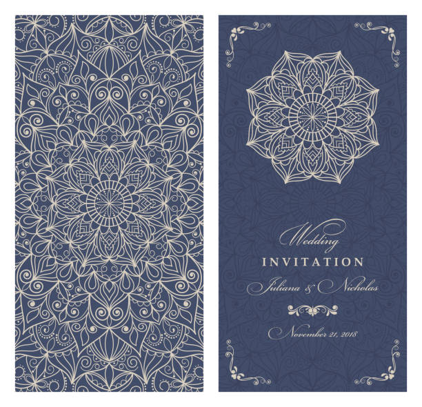 Wedding invitation cards Eastern style blue and deige. Arabic  Pattern. Mandala ornament. Frame with flowers elements. Vector illustration morocco stock illustrations