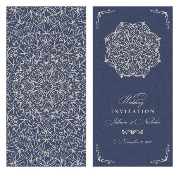 stockillustraties, clipart, cartoons en iconen met bruiloft uitnodiging kaarten oost-stijl blauwe en deige. arabisch patroon. mandala sieraad. frame met bloemen elementen. - oost