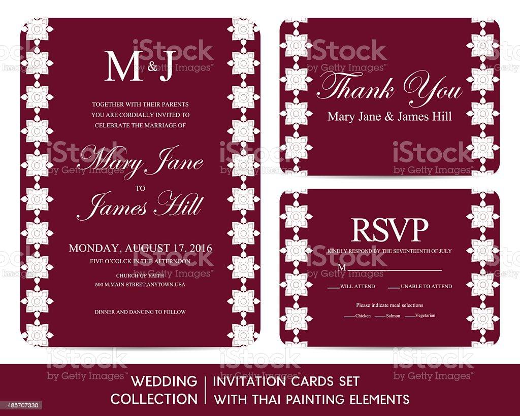 Hochzeit Einladung Karten Set Mit Thailändischen Gemälde Elemente  Lizenzfreies Vektor Illustration