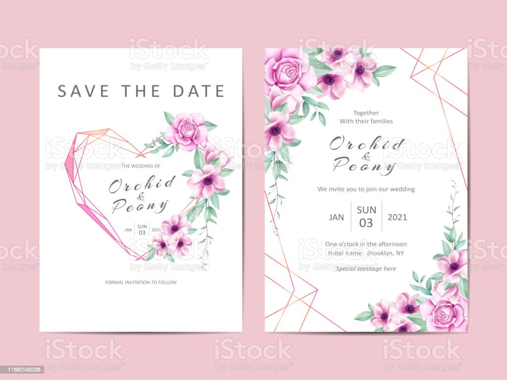 Wedding Invitation Cards Template Set Of Watercolor Floral Stock  Illustration - Download Image Now - iStock