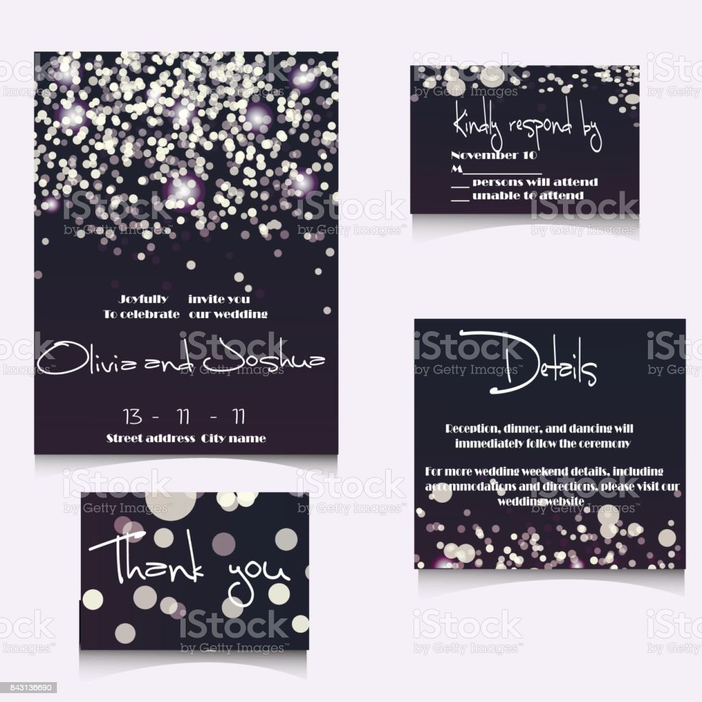 Wedding Invitation Cards Template Set with Soft Lights and vector art illustration