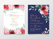 Wedding invitation cards template set with watercolor flowers decoration. Editable Save the date, invite or greeting, thank you, rsvp cards vector design