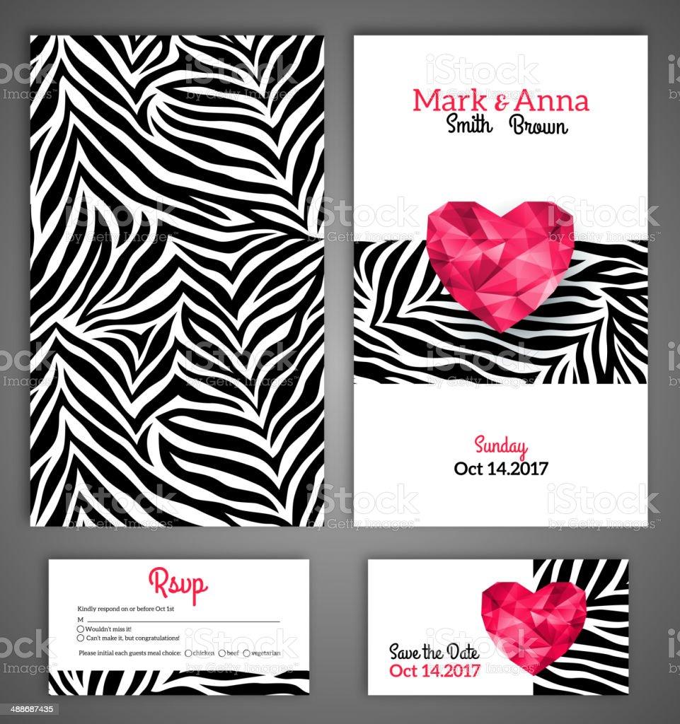 Hochzeit Einladung Karten Vorlage Mit Abstrakten Polygonal Herz ...