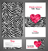Wedding invitation cards template with abstract polygonal heart