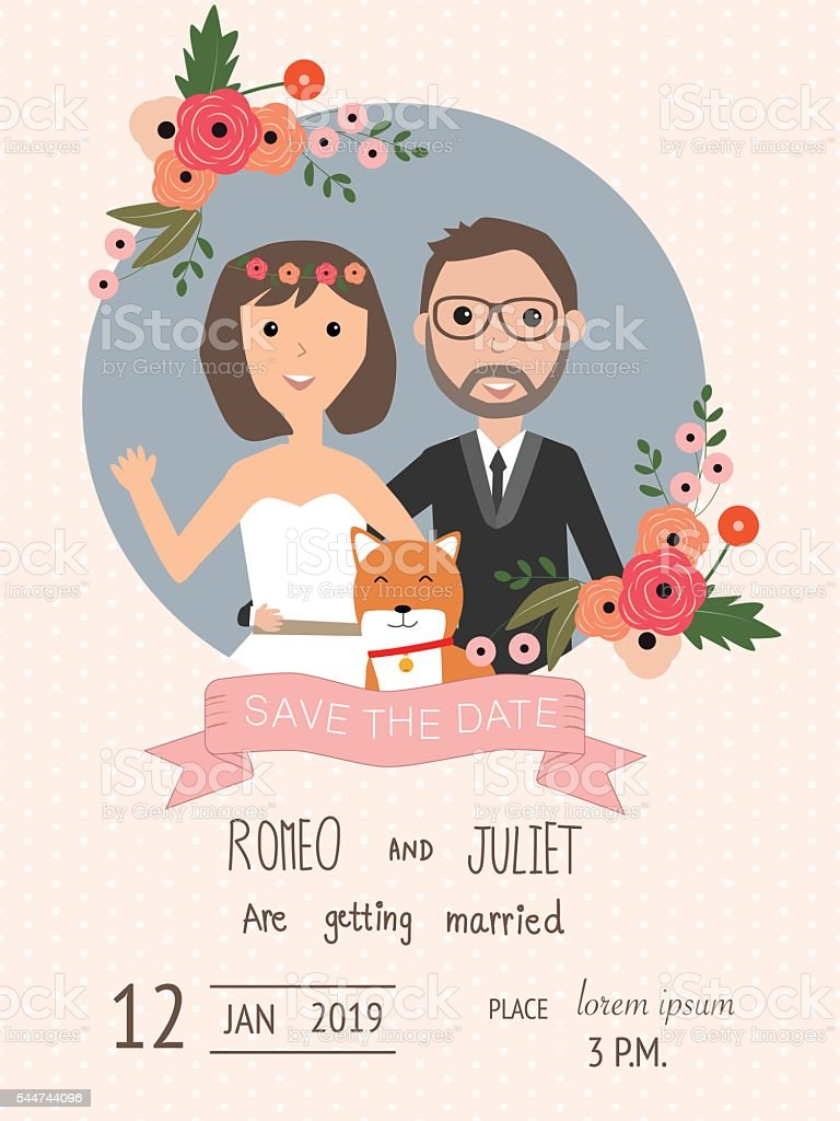 Hochzeit Einladung Karten Mit Braut Und Bräutigam Und Ihren Hund  Lizenzfreies Hochzeit Einladung Karten Mit Braut