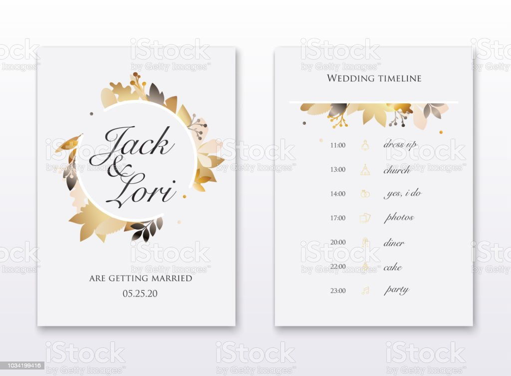 wedding invitation cards with gold leafs save the date wedding