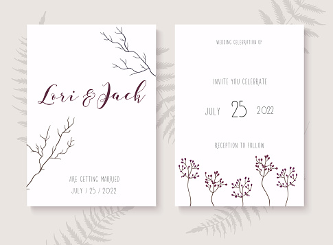 Wedding Invitation Cards With Leafs Save The Date Vector