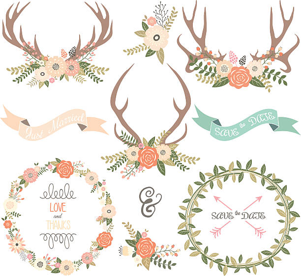 wedding invitation collections - deer antlers stock illustrations, clip art, cartoons, & icons