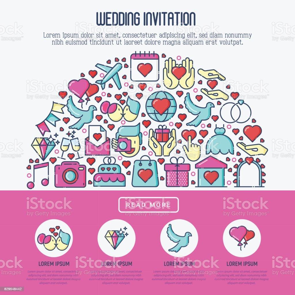 Ilustración de Concepto De Invitación De Boda Con Los Iconos De La ...