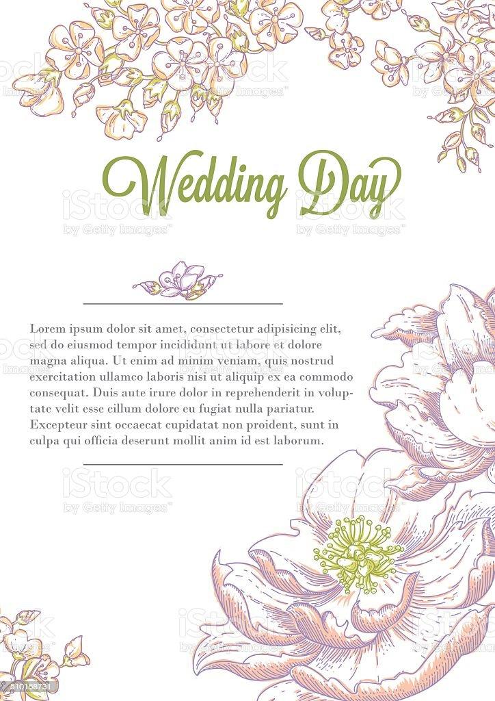 Hochzeit Einladung Herzlichen Gluckwunsch Postkarte Mit Blumen Stock