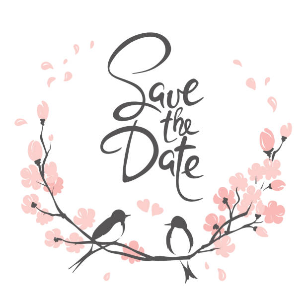hochzeitseinladung, crad. - save the date stock-grafiken, -clipart, -cartoons und -symbole