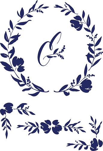 Wedding Invitation Design Elements and Floral Wreath