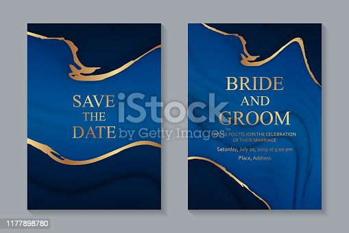Set of two cards with blue liquid marble texture and golden streaks.
