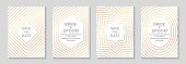 Set of two cards with golden geometric borders on a white burgundy background.