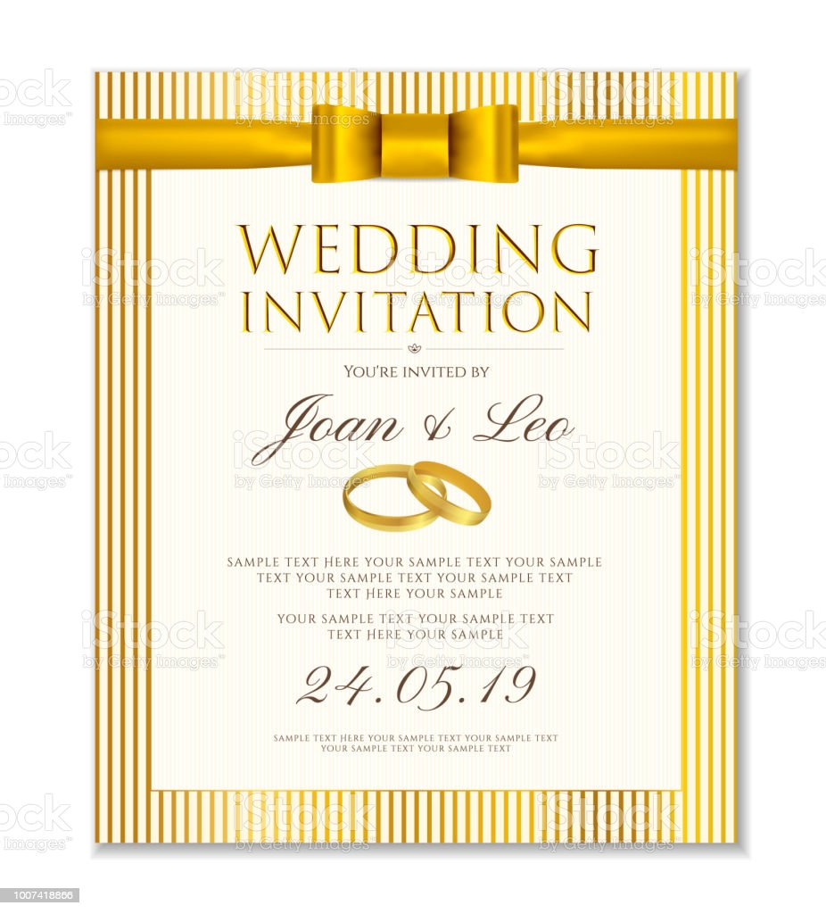 Wedding Invitation Design Template Classic Golden Background With