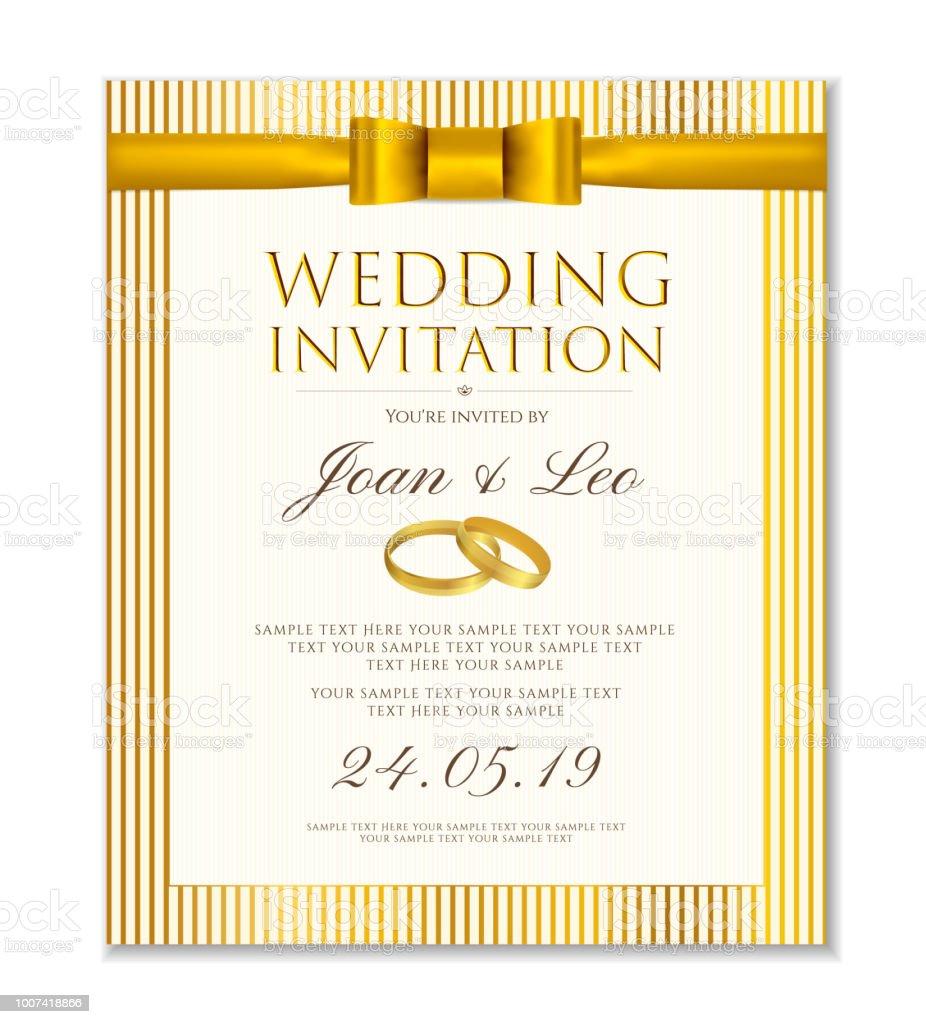 Wedding Invitation Design Template Classic Golden Background