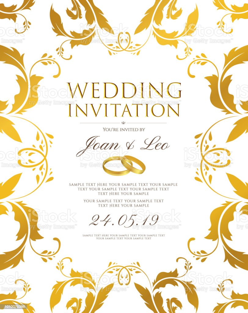 Wedding Invitation Design Template Classic Golden Background