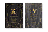 Vector illustration of a group of Wedding invitation design template with Save the Date typography design on marble texture with gold line art. Easy to edit. EPS 10.