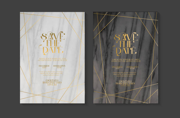 Wedding invitation design template set with Save the Date typography design on marble texture with gold line art vector art illustration