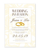 Classic Golden background with gold wedding rings useful for any Invitations,  marriage, anniversary, engagement party