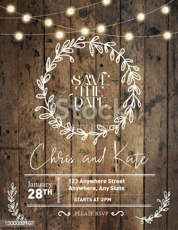 istock Wedding invitation design template with hand drawn wreath and wooden background with string lights 1200002107